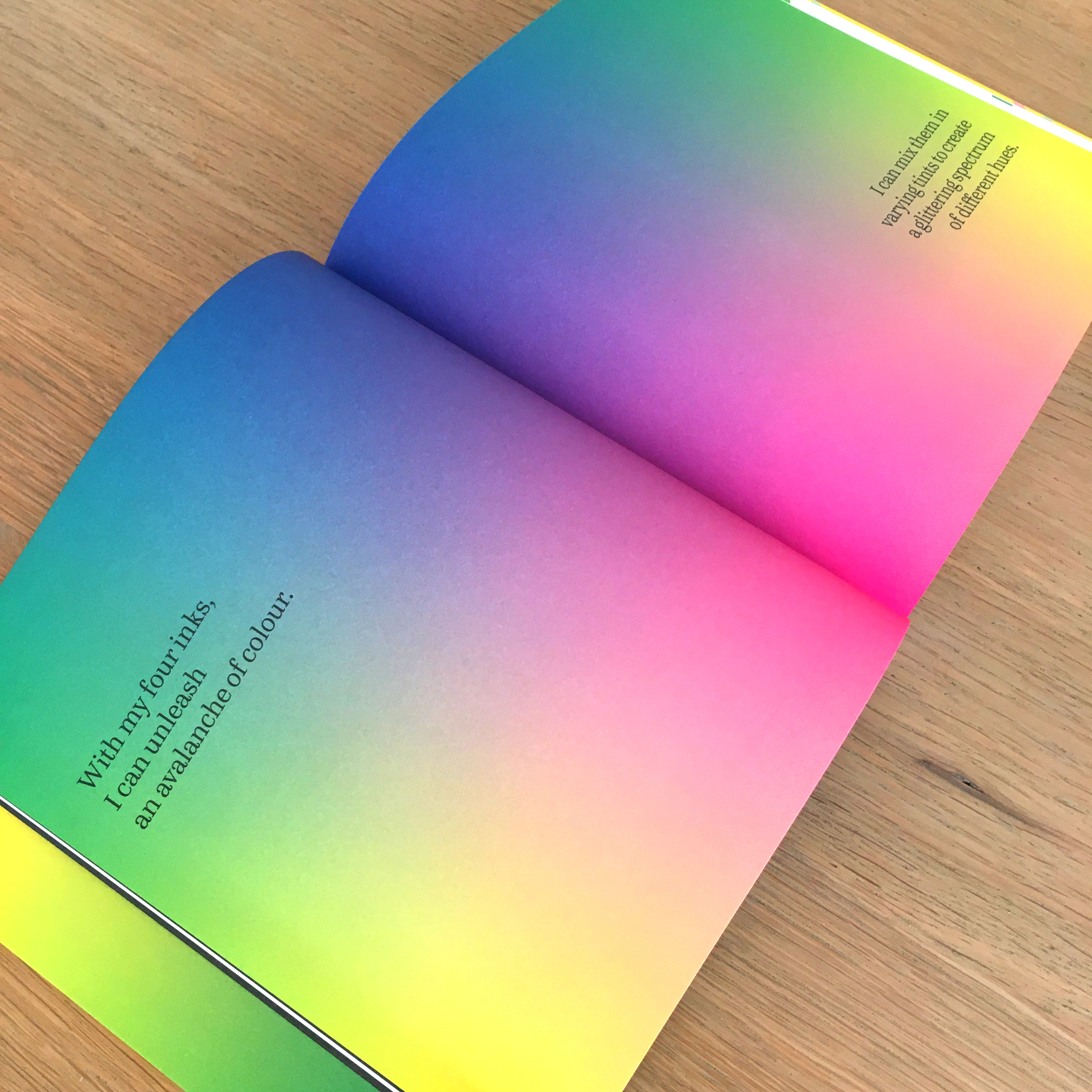 CMYK gradient spread from 'I am a book. I am a portal to the universe.'